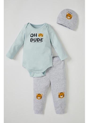 DeFacto Erkek Bebek Baskılı 3'lü Takım Turkuaz